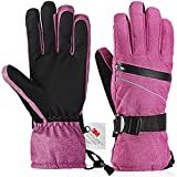 Ski gloves, Fazitrip Waterproof Windproof Winter Gloves for Women with Sensitive Touchscreen Function and Zipper Pocket, 3M Thinsulate Insulation Idea for Skiing, Snowboarding and Cycling