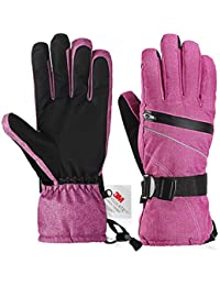 Ski Gloves,Fazitrip Windproof Waterproof Winter Gloves for Women W/WO Sensitive Touchscreen Function and Zipper Pocket, 3M Thinsulate Insulation Idea for Skiing, Snowboarding