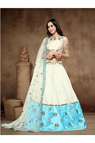 IWS Indian Women Designer Wedding White & Sky Blue Lehenga Choli R-16698