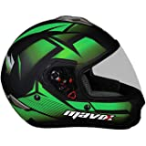 MAVOX FX21 D3P 580 Full Face Helmet (Black and Green, 580 mm)