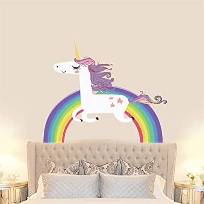 Unicorn Rainbow Colorful Fairytale Wall Decal Sticker Art Vinyl Decor Removable PVC Decoration for Girls Room Nursery Living Room Kindergarten: Home & Kitchen