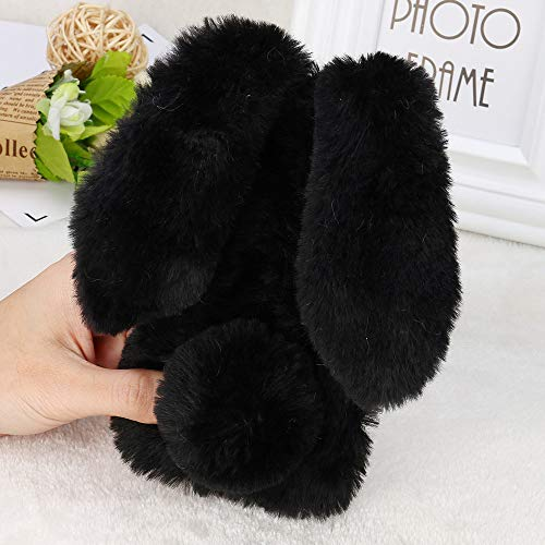 DEESEE(TM) NewLuxury Bling Diamond Bunny Rabbit Fur Plush Fuzzy Fluffy Soft Phone Case Cover For Iphone XS (Black)