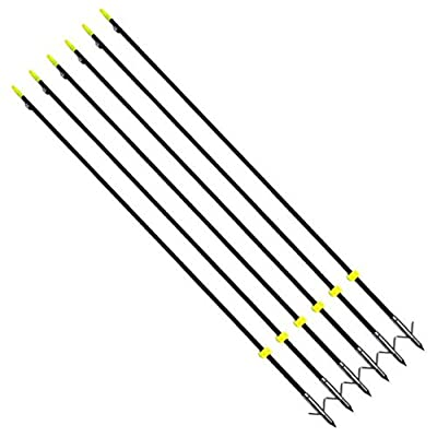 "Ruixunte 35"" Black Archery Bow Fishing Hunting Arrow with Safety Slides(Pack of 6)"