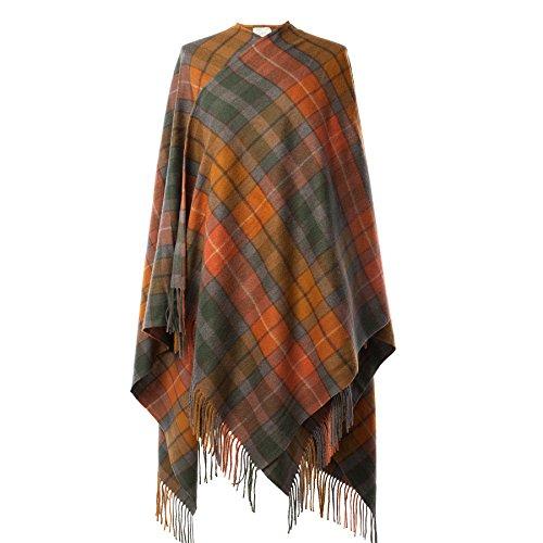 Edinburgh 100% Lambswool Scottish Tartan Long Cape Buchanan Antique (One Size)