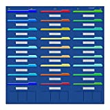 Organization Center Pocket Chart, Wall File Organizer Folder with 27 File Pockets+9 small Pockets, 30 Dry-Erase Cards plus 8 Hangers Hooks, Perfect for Office, Home, School, Studio, etc. 41 X 40 inch