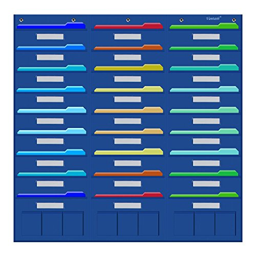 Organization Center Pocket Chart , Wall File Organizer Folder with 27 File Pockets+9 small Pockets, 30 Dry-Erase Cards plus 8 Hangers Hooks, Perfect for Office, Home, School, Studio, etc. 41 X 40 inch