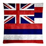 Cool Hawaii State Flag Cushion Case - Throw Pillow Case Decor Cushion Covers Square with Hidden Zipper Closure - 18x18 inches, One-sided Print