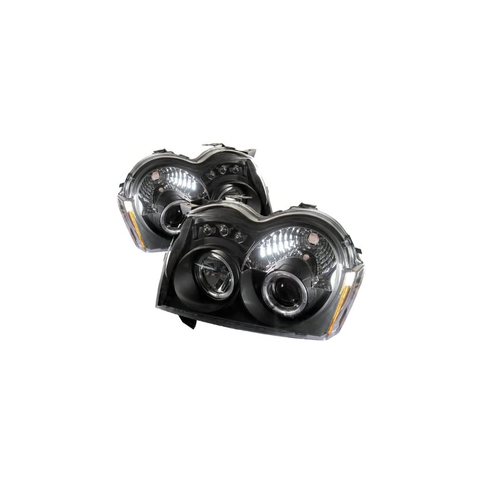 2005 2006 2007 Jeep Grand Cherokee Halo LED Projector Headlights   Black (Replaceable LEDs)