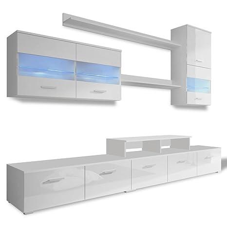 vidaXL 7 Pz Unità Mobili da Parete Salotto TV con LED 250 cm Bianco Laccato