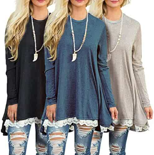 a6ce6f1288e Sanifer 3 Pack Women's Lace Long Tunic Tops Plus Size Long Sleeve T Shirts  Blouses
