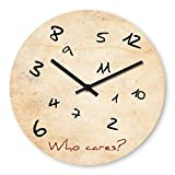 Funny Who Cares Wooden Wall Clock Silent Non-ticking Wall Clocks Decorative for Living Room Bedrooms Nursery Clock Children Watch
