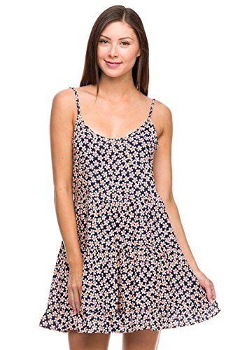 2LUV Women's Open Back Floral Print Dress Navy S (AD7030B)