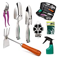 Lamptop Gardening Tools Set, 11 Pieces Stainless Steel Garden Hand Tool, Gardening Gifts Tools for Women/Men, Gardener, Women/Grandparents/Parents(Stainless Steel)
