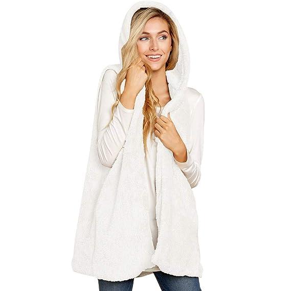 Luckycat Las Mujeres de Dama de Piel sintética con Capucha sin Mangas Chaleco cálido Chaleco Outwear Tops: Amazon.es: Ropa y accesorios