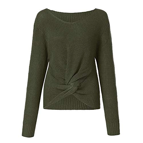 Ameily Women Cross Knotted Panel Sweater Long Sleeve Solid Color V-Neck Sexy Pullover Jumper Crop Top - Jumper Ballet