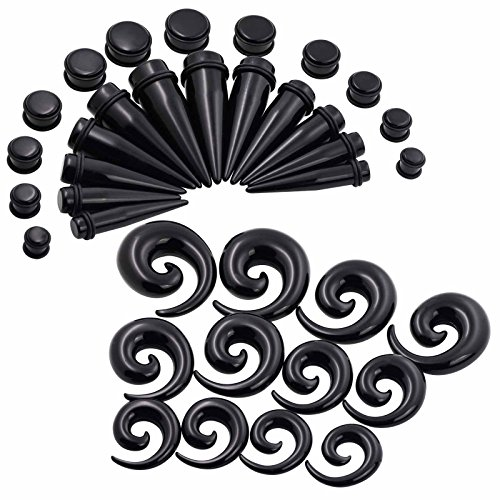 - 36Pcs Acrylic Black Spiral and Taper Kit with Plugs Double O-rings 00G-3/4