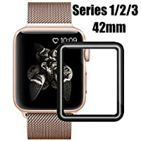 AsianiCandy Apple Watch Screen Protector 42mm, iWatch Tempered Glass Screen Protector, Anti-Scratch, Scratch Resistant, 3D Full Screen Coverage for Apple Watch 42mm Series 3/2/1 [1 Pack, Black] from AsianiCandy