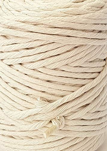 Macrame Cord 5mm Single Strand Natural Cotton Cord 393 feet Crafts Macrame Rope by MB Cordas (Image #4)