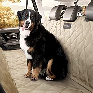 Perfect Pet Seat Cover - Dog and Cat Car Seat Cover/Hammock - Waterproof and Machine Washable - Non-Slip Quilted Technology to Protect Seats in Cars, Trucks, SUVs and Vans From Stains and Hair - Tan 100