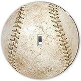 Rikki Knight RND-LSPS-56 Baseball Round - Single Toggle Light Switch Plate, White
