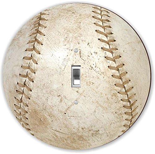Rikki Knight RND-LSPS-56 Baseball Round - Single Toggle Light Switch Plate, White by Rikki Knight