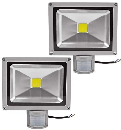 2X 20W SMD Foco LED con Sensor Movimiento,Proyector LED Exterior,Blanco Frio con