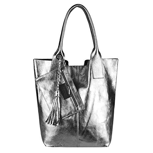 OBC Only-Beautiful-Couture, Borsa a spalla donna Lila 42x35x16 ca.: 42x35x16 cm (BxHxT) dunkelgrau-leder 42x35x16