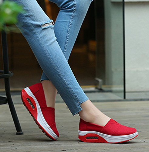 Women Loafers Driving Bottom Wedge Heel Platform Walking Sneakers Shoes Fitness LINNUO Running Trainers Color Solid Rose Shoes Thick dRfwYxRqX
