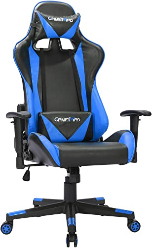 BERLMAN High Back PU Leather Swivel Gaming Chair with Adjustable Armrest Lumbar Support Headrest Racing Office Chair Blue