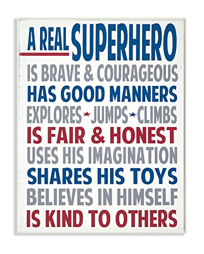 The Kids Room by Stupell Typography Art Wall Plaque, A Real Superhero, 11 x 0.5 x 15, Proudly Made in (Boys Room Wall Decor)