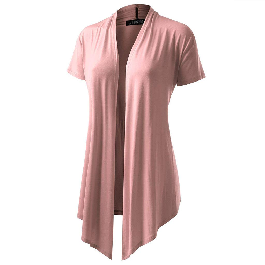 F_topbu Women Cardigan Open Front Lighiweight Short Sleeve Soft Drape Cardigans Casual Blouse Tops Pink