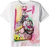 Moschino Kids Girl's Short Sleeve Victorian Graffiti Graphic T-Shirt (Big Kids) Cloud 10