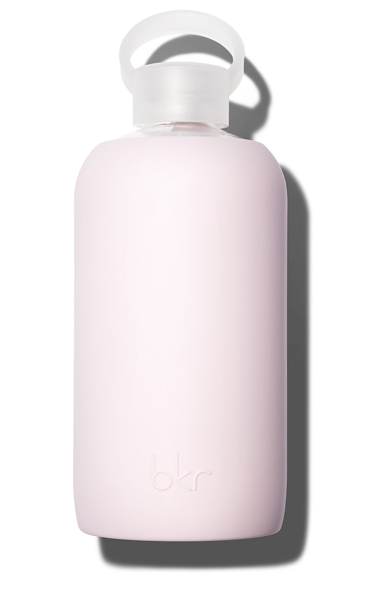 bkr Air Kiss Glass Water Bottle with Smooth Silicone Sleeve for Travel, Narrow Mouth, BPA-Free & Dishwasher Safe, Opaque Socialite Sweetheart Pink, 1 Count by bkr