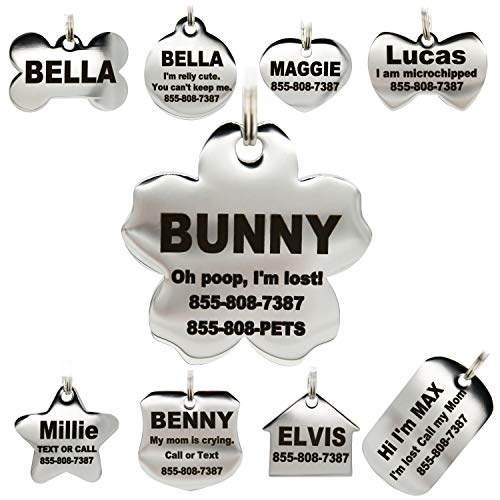 Stainless Steel Pet ID Tags - Engraved Personalized Dog Tags, Cat Tags Front & Back up to 8 Lines of Text - Bone, Round, Heart, Flower, Badge, House, Star, Rectangle, Bow Tie from PetANTastic