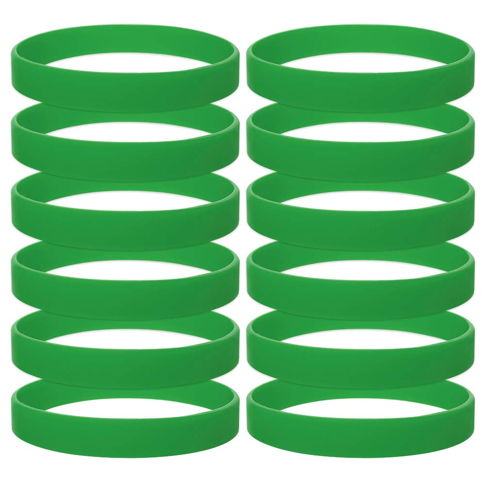 GOGO 12 PCS Silicone Wristbands for Kids, Rubber Bracelets, Party Favors-KellyGreen