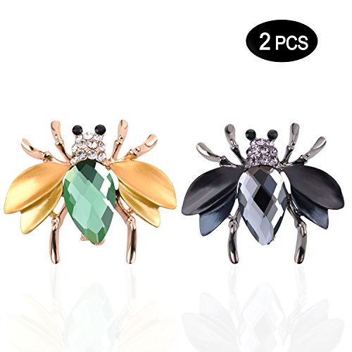 TAGOO Noble Peacock Bird Swan Vintage Monkey Seahorse Dolphin Snoopy Animal Brooches Pins Corsages Scarf Clips in Crystal Unisex Women&Men (2 PCS Bee Brooch (Black+Yellow) 1.49