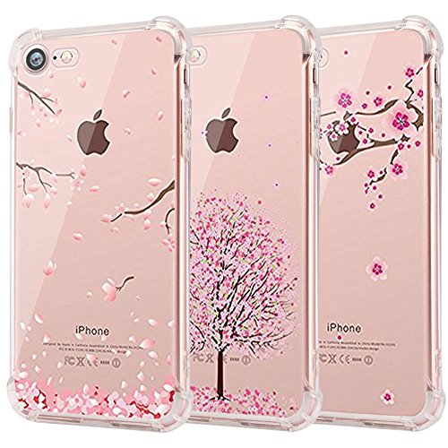 Cherry Lightweight Headphone (iPhone 7 Case, iPhone 8 Case, CarterLily [3-Pack] [Shock Absorption] Clear Cherry Blossoms Design Pattern Soft Flexible TPU Back Case for iPhone 7 iPhone 8 4.7'' - Cherry)