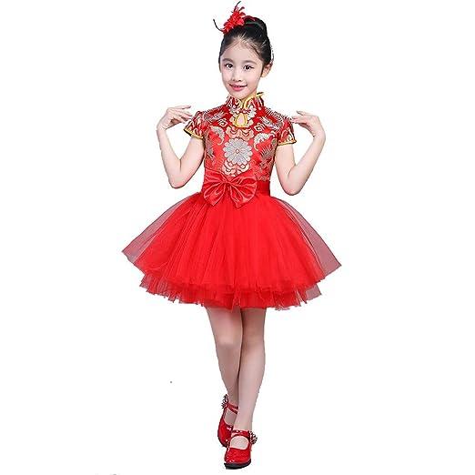 YONGMEI Traje de Baile - Princesa Falda Tutu Vestido de niña ...