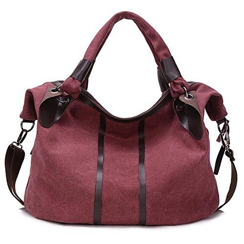 La mujer de lona bolso bolso de viaje de ocio al aire libre bolsa grande purple coffee