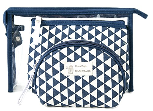 Zhoma 3 Piece Cosmetic Bag Set - Makeup Bags And Travel Case - Blue (Cosmetic Bag Set Of 3)