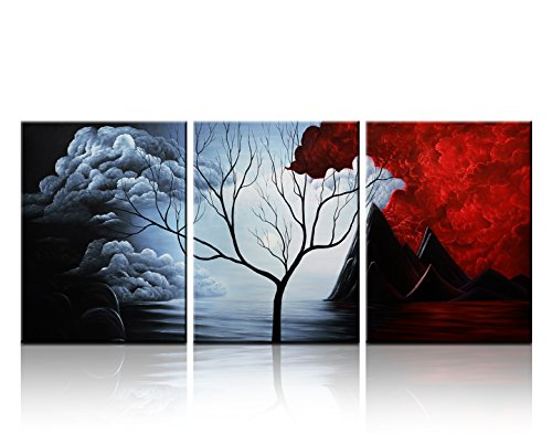 Santin Art- Modern Abstract Painting the Cloud Tree High Q. Wall Decor Landscape Paintings on Canvas 12x16inch 3pcsset Stretched and Framed Ready to Hang