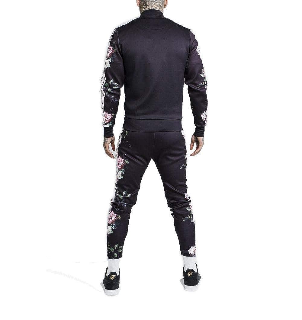 SikSilk Black Oil Paint Poly Tricot Bomber Jacket