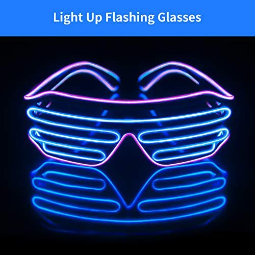 Light Up EL Wire Neon Shutter Glasses Flashing LED Rave Sunglasses for 80s, EDM, Parties Decorations(Purple+Blue) -