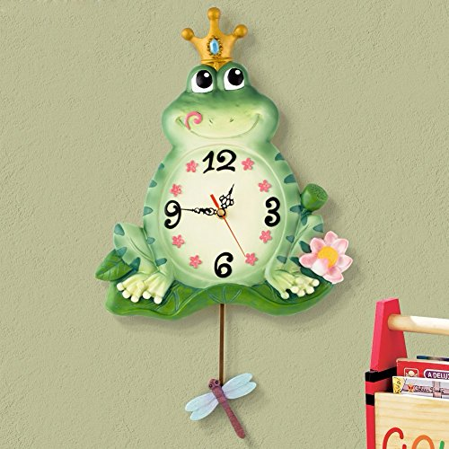 HQLCX Creative fashion of modern European style living room wall clock, clock, mute bedroom Frog Prince swing clock (Frog Prince Clock)