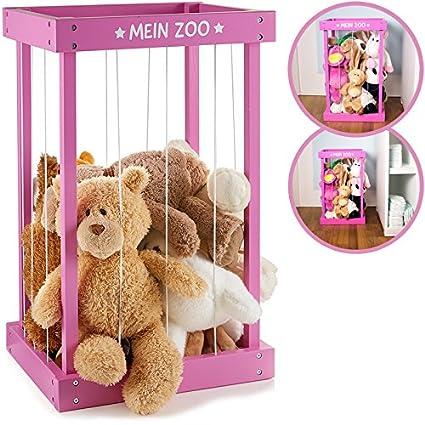 Peluche de caja para guardar Manta Animales de madera rosa