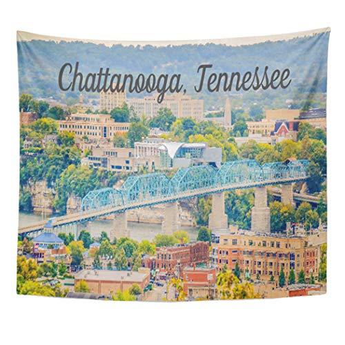 (Semtomn Tapestry Artwork Wall Hanging Walnut Chattanooga Tennessee Skyline Street Pedestrian Bridge Coolidge Park 50x60 Inches Tapestries Mattress Tablecloth Curtain Home Decor)