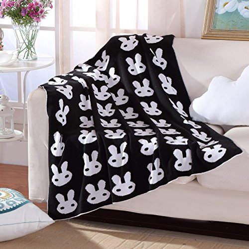 Knitting Blanket Jacquard Soft Sofa Cover Baby Receiving Blanket Warm,35 by 42inch (90x110cm), Black& White Bunny Pattern Bunny Fleece Blanket