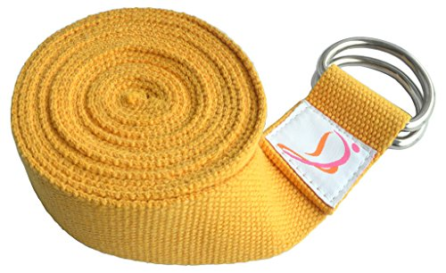 Dancina Yoga Strap 8ft with Steel D-Ring Pure Durable Cotton Yellow