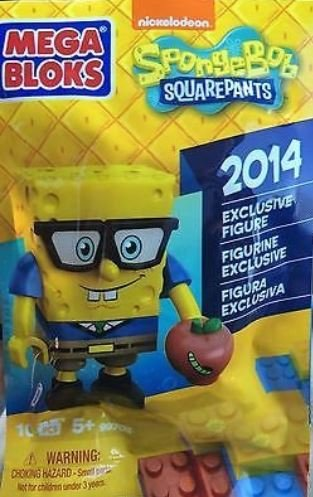 Spongebob With Glasses (Mega Bloks Spongebob Squarepants 2014 Exclusive Glasses with Apple and Worm Minifigure)