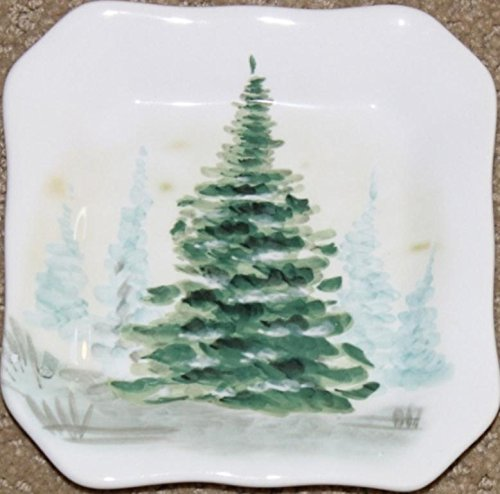 """Maxcera Holiday Christmas Trees 5"""" Dessert/Appetizer/Canape Plates - Set of 4"""
